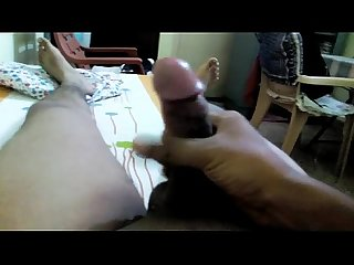 South Indian guy masturbating closeup cock